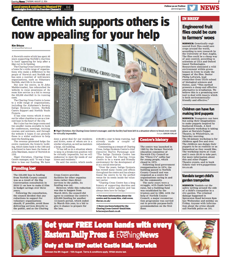 Norwich Evening News - Charing Cross Website relaunch - 12082014